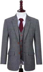 AIRTAILORS GREY DONEGAL TWEED 3 PIECE SUITS