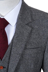 AIRTAILORS™GREY DONEGAL TWEED 3 PIECE SUITS