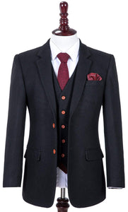 AIRTAILORS BLACK TWILL TWEED JACKETS 3 PIECE