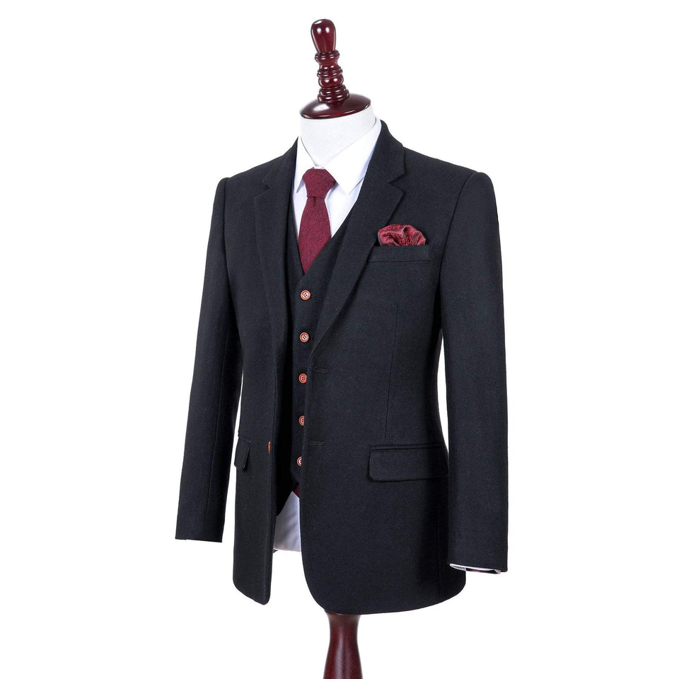 AIRTAILORS™ BLACK TWILL TWEED JACKETS 3 PIECE