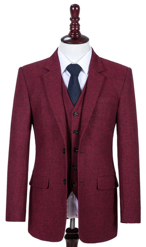 AIRTAILORS BURGUNDY DONEGALE TWEED  3 PIECE SUITS