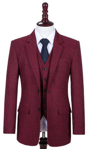 AIRTAILORS™  BURGUNDY DONEGALE TWEED  3 PIECE SUITS