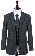 AIRTAILORS DARK GREEN CHECKED HERRIINGBONE TWEED MENS 3 PIECE SUITS