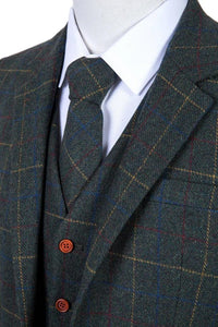 AIRTAILORS™ DARK GREEN CHECKED HERRIINGBONE TWEED MENS 3 PIECE SUITS