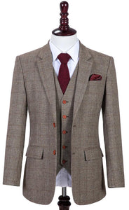 AIRTAILORS LIGHT BROWN HOUNDSTOOTH TWEED 3 PIECE SUITS