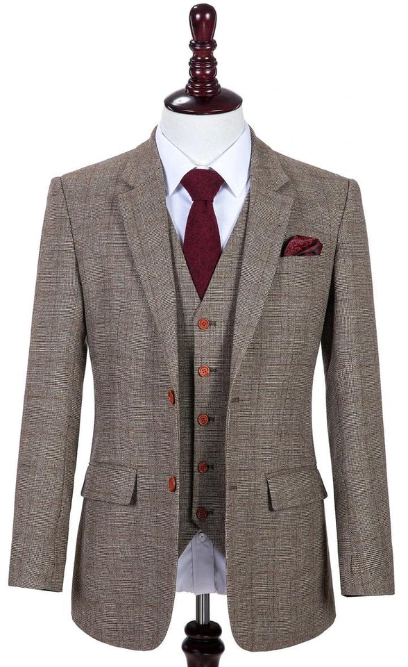 AIRTAILORS™ LIGHT BROWN HOUNDSTOOTH TWEED 3 PIECE SUITS