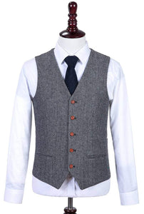 AIRTAILORS™ CLASSIC GREY HERRINGBONE TWEED 3 PIECE SUITS - Airtailors