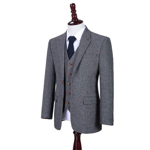 AIRTAILORS™ CLASSIC GREY HERRINGBONE TWEED 3 PIECE SUITS