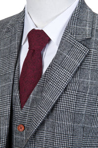AIRTAILORS™ LIGHT GREY HOUNDSTOOTH PLAID TWEED 3 PIECE