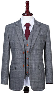 AIRTAILORS LIGHT GREY HOUNDSTOOTH PLAID TWEED 3 PIECE