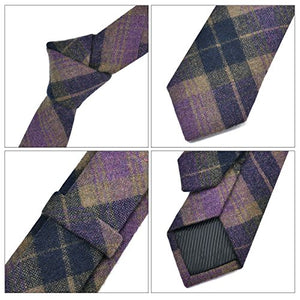 AIRTAILORS ™ MENS PURPLE CHECKED SKINNY WOOLEN NECK TIE - Airtailors