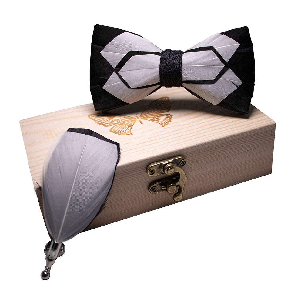 AIRTAILORS™ WHITE AND BLACK NATURAL BIRD FEATHER BOWTIE