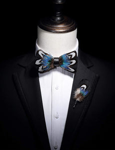 AIRTAILORS™ BLACK AND BLUE NATURAL BIRD FEATHER BOWTIE