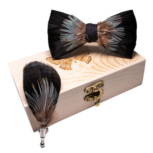 Airtailors Birds Feather Bow Tie Natural Hand Made Bowtie Brooch Wood Gift Box W06