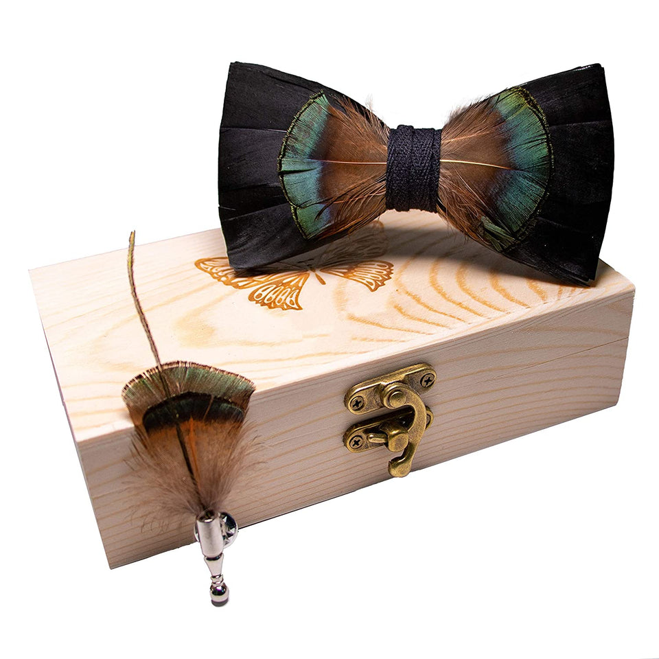 AIRTAILORS™BROWN BIRD FEATHER WOOD BOWTIE