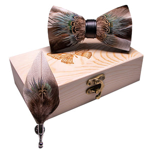 AIRTAILORS™ BROWN BRID FEATHER BOWTIE