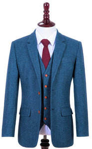 AIRTAILORS BLUE CHECKED HERRIINGBONE TWEED MENS 3 PIECE SUIT FRONT 03