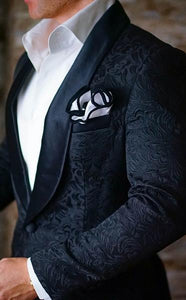 AIRTAILORS™   BLACK BUTTERFLY PAISLEY DINNER JACKET
