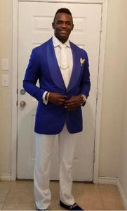 AIRTAILORS™  ROYAL BLUE PAISLEY DINNER JACKET