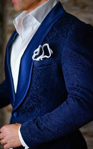AIRTAILORS™  ROYAL BLUE MENS WEDDING SUITS PAISLEY DINNER JACKET - Airtailors