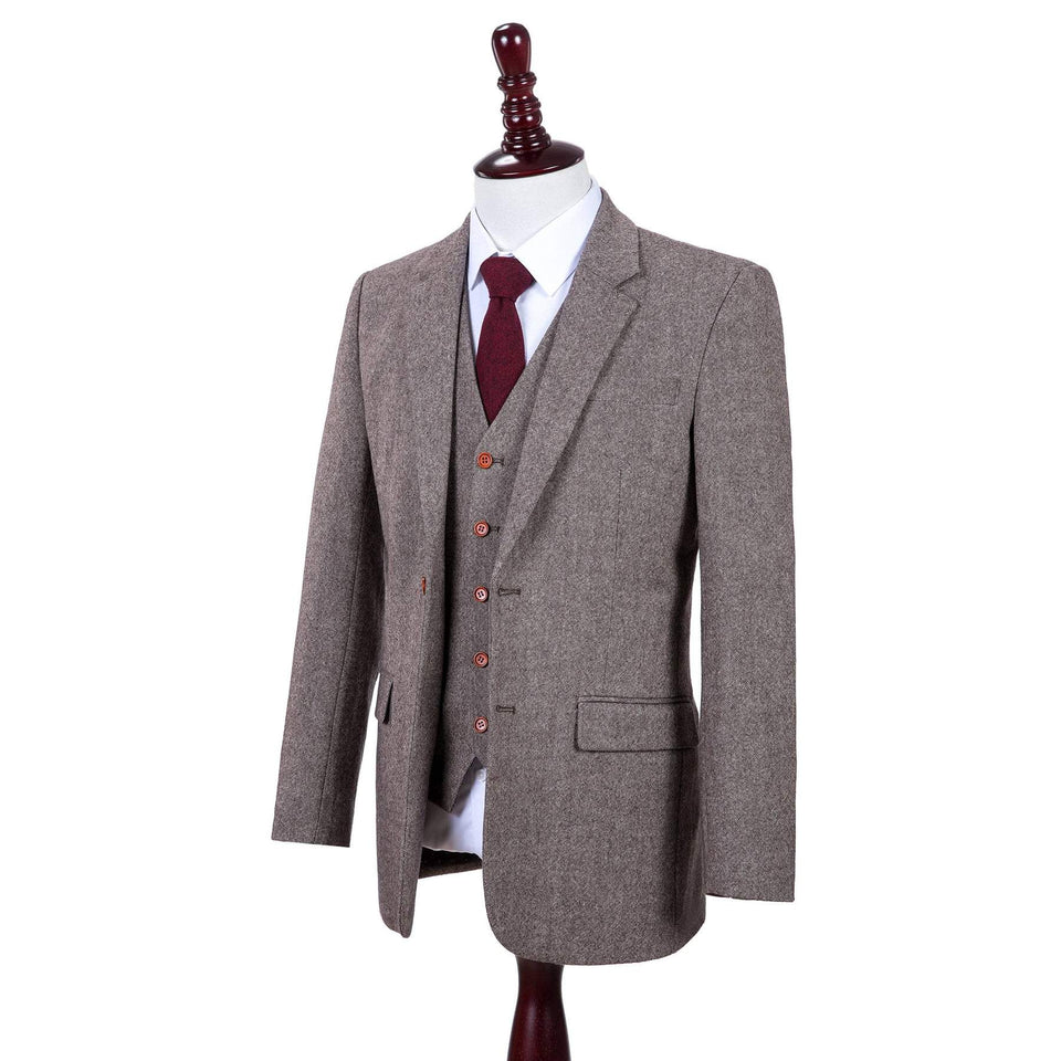 AIRTAILORS™  RUSTIC CLASSIC BROWN BARLEYCORN TWEED 3 PIECE