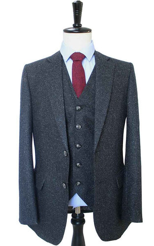 AIRTAILORS BLACK DOTTED TWEED JACKETS 3 PIECE