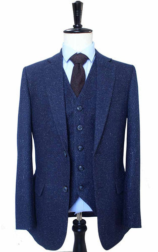 AIRTAILORS CLASSIC NAVY DOTTED TWEED SUITS 3 PICECES