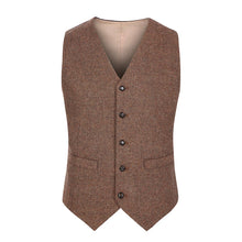 Farm Wedding Brown Wool Herringbone Tweed Vest Front