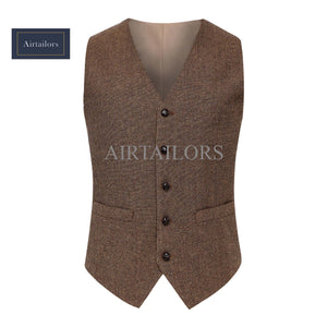 Brown Wool Herringbone Tweed Vests