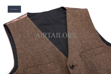 Airtailors Rustic Wedding Wool Tweed Vests Groom's Suit Vest Slim Fit  Wedding Vest Men