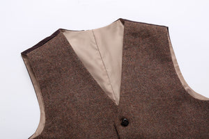 Farm Wedding Brown Wool Herringbone Tweed Vest Front 2