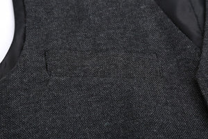 AIRTAILORS™ DARK GREY WOOL DONEGAL TWEED VEST