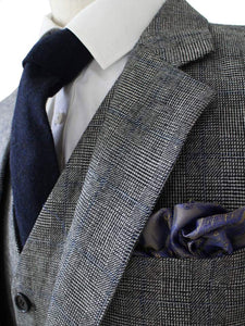AIRTAILORS™  GREY BLUE PRINCE OF WALES TWEED JACKET - Airtailors