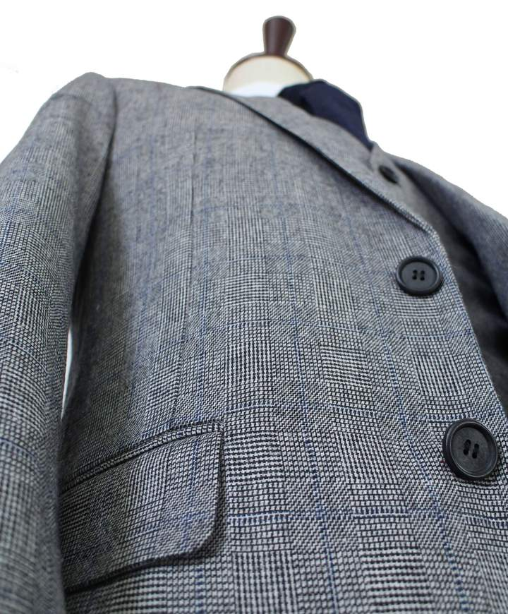 AIRTAILORS™  GREY BLUE PRINCE OF WALES TWEED JACKET