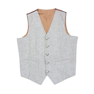 AIRTAILORS™ LIGHT GREY DONEGAL WOOL TWEED VEST