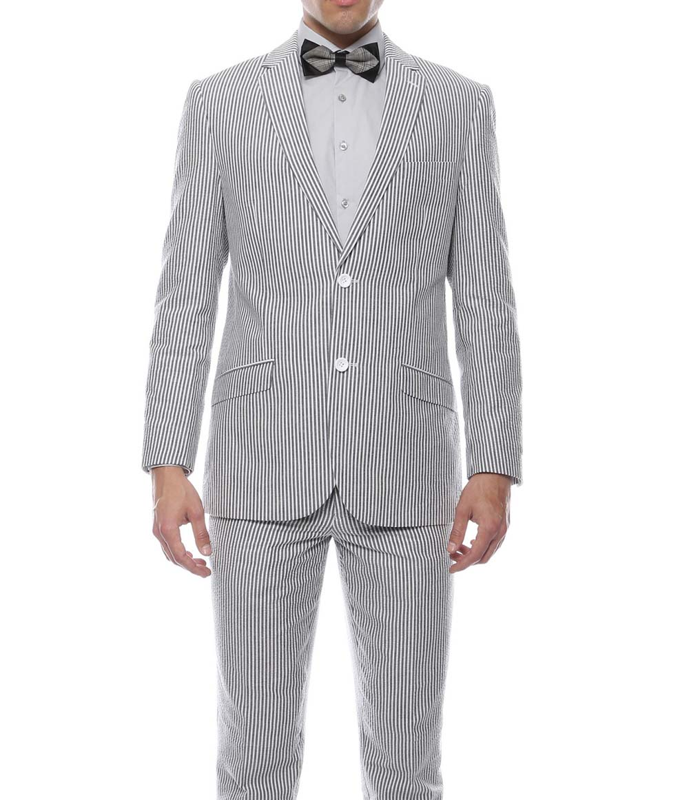 AIRTAILORS™ GRAY SEERSUCKER PROM SUITS