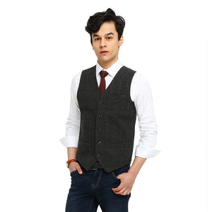 Wool Gray Checked Tweed Vest Front