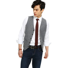 mens gray herringbone tweed vest  side 1