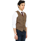 AIRTAILORS™BROWN DONEGAL WOOL TWEED VEST