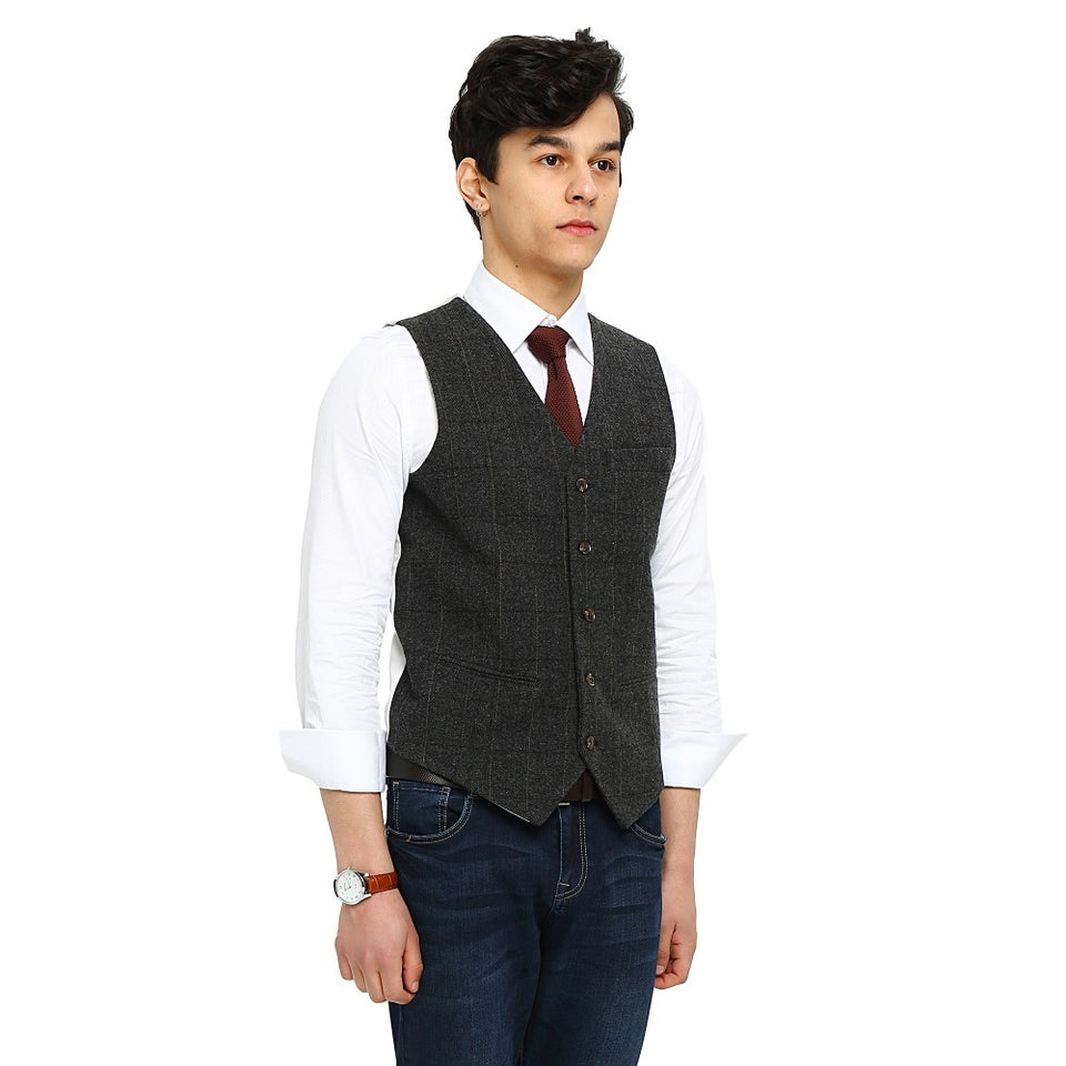 Wool Gray Checked Tweed Vest Front 2