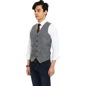 mens gray herringbone tweed vest side 2