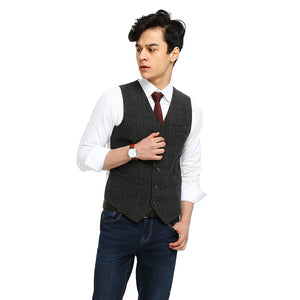 Wool Gray Checked Tweed Vest Satin Back