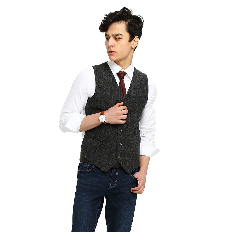 Wool Gray Checked Tweed Vest Side 1