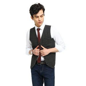 Wool Gray Checked Tweed Vest Side 2