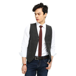 Wool Gray Checked Tweed Vest Side 3