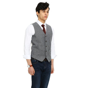 mens gray herringbone tweed vest side 3