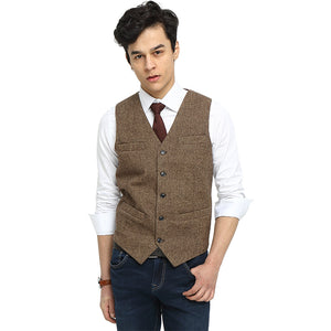 Mens Formal Wear Brown Tailored Donegal Style Tweed Vest Slim Mens Wedding Vest Plus Size