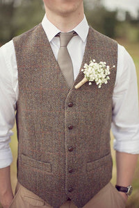 AIRTAILORS™ BROWN WOOL HERRINGBONE LEATHER BUTTON TWEED VEST