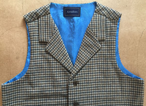 Houndstooth Wool Tweed Vest Notch Lapel