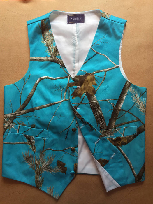 Airtailors Blue Realtree Camouflage Vest for Rustic Wedding Fashion Dress Vests Party Vest